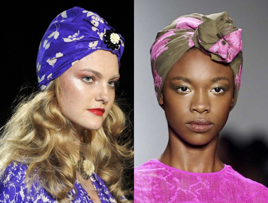 Add colour to your ensemble with a printed headscarf this season.